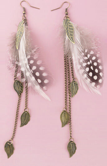 F1925F Feather Earrings Chain Leaf Dangle Eardrop Fashion Handmade Jewelry