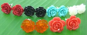 100-REAL-925-sterling-silver-034-Rose-034-6-colours-studs-earrings-Teen-Girl-women