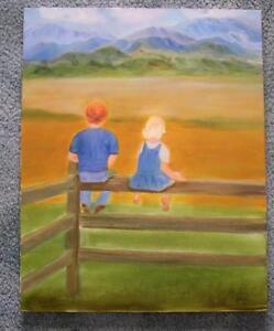 CHILDREN REDHEAD BOY BLONDE GIRL LANDSCAPE FOLK ART COLORADO MOUNTAINS PAINTING