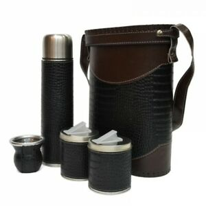 BRAND NEW SET ECO LEATHER YERBA MATE KIT GOURD BOMBILLA BAG ALL ACCESORIES DRINK
