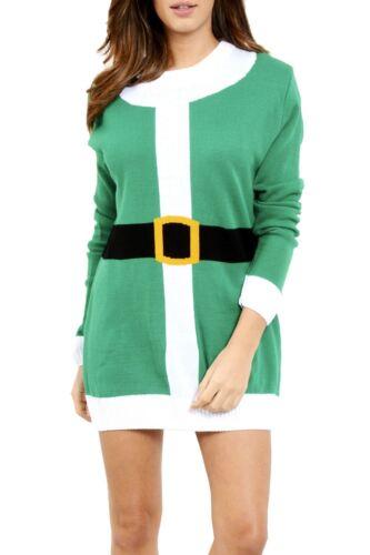 Ladies GingerBread Long Sleeve Women Off Shoulder Christmas Pudding Jumper Dress