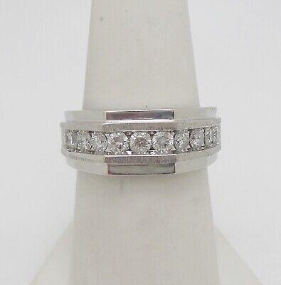 Zales 1ct Mens Diamond Wedding Band Ring 10k White Gold Ebay