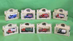 Eight 8 Vintage CHEVRON Die Cast 1920s-1930s Era Trucks All Mint In Box