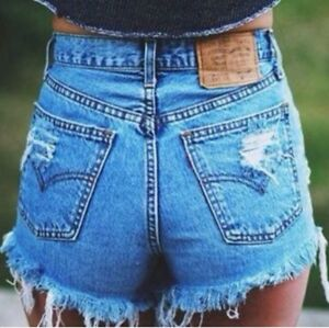 742f4a7c61 Vintage Levi's Button Fly High Waisted Cut Off Jean / Denim Shorts ...