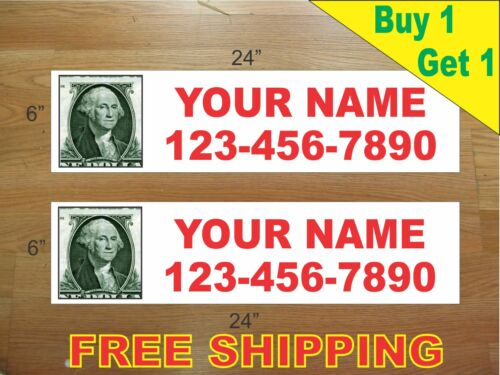 "CUSTOM PHOTO Red Text 6/""x24/"" REAL ESTATE RIDER SIGNS Buy 1 Get 1 FREE 2 Sided"