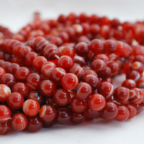 Grade A Banded Carnelian Red Agate Gemstone Round Beads 4mm 6mm 8mm 10mm
