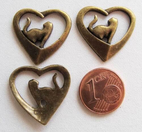 4 breloque perles charm COEUR CHAT métal BRONZE 22mm DIY Bijoux MB80