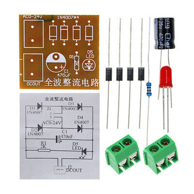 10pcs IN4007 AC To DC Power Converter Full Wave Bridge Rectifier Suite DIY Kits