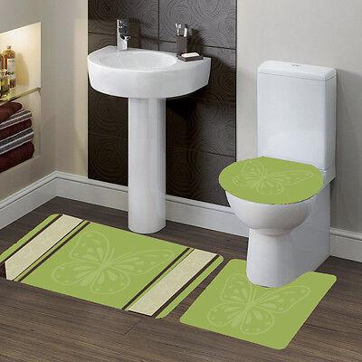 3PC SOLID PLAIN SAGE GREEN BANDED BATHROOM SET BATH MAT COUNTOUR LID COVER #6