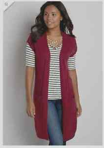 e357358c7bfa6b Image is loading Maurices-Chevron-stitched-Duster-long-Sweater-Vest-cardigan -