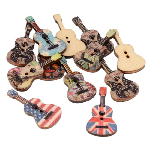 100pcs Guitar Wooden Button 2-Hole Handmade Crafts Cardmaking Xmas Ornaments