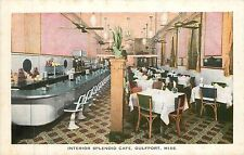 Mississippi, MS, Gulfport, Interior Splendid Cafe 1940's Postcard