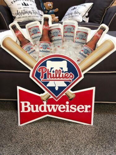 Philadelphia Phillies Budweiser Metal Sign 1991 Very Rare Vintage  22.5 In USA