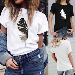 Women-Feather-Printed-T-Shirt-Loose-Short-Sleeve-O-Neck-Tops-Slim-Tee-Blouse-UK