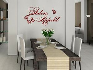 wandtattoo spruch aufkleber wandaufkleber f r k che guten appetit blumen. Black Bedroom Furniture Sets. Home Design Ideas