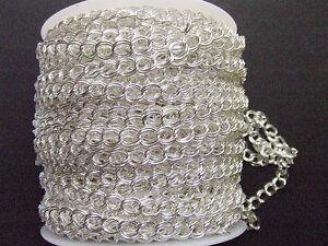 1mt  CATENA anelli rimagliabili 7X8mm DOPPIA MAGLIA colore argento chiaro