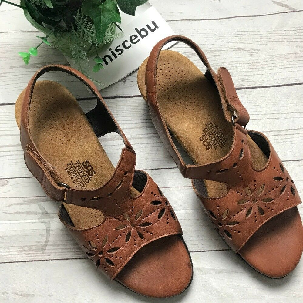 SAS Tripad Comfort Size 9 M Mary Janes Brown Leather Sandals Buckle Sling USA