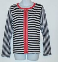 Onque Casuals Ladies Long Sleeve Front Zip Stripe Top Black & White Small (s)