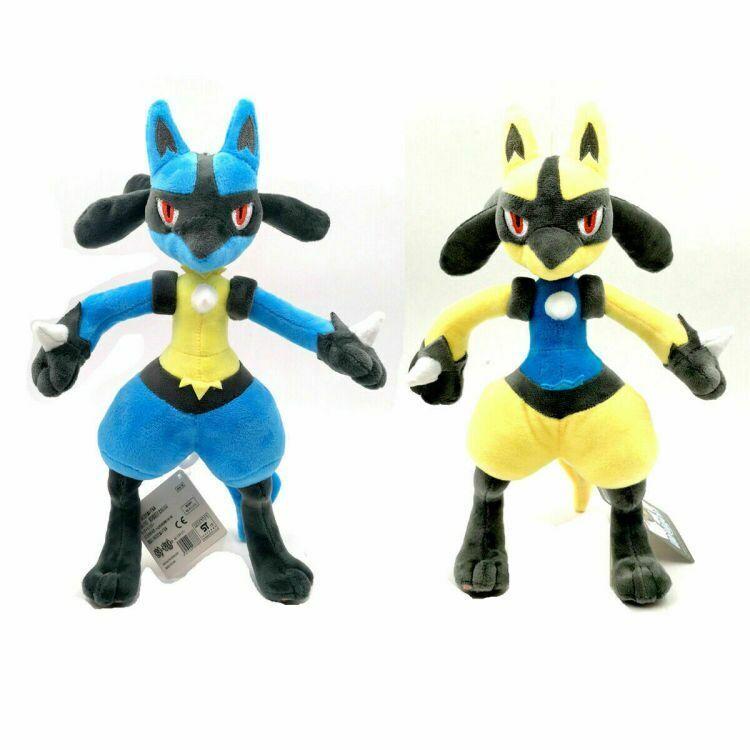 2pcs Pokemon Lucario and Shiny Lucario Plush Toy Soft Stuffed Doll Gift