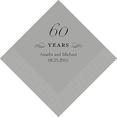 100 Printed 60th Anniversary Birthday Dinner Napkins