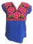Floral-Mexican-Blouse-Embroidered-Authentic-Handmade-Cotton-Blue thumbnail 5