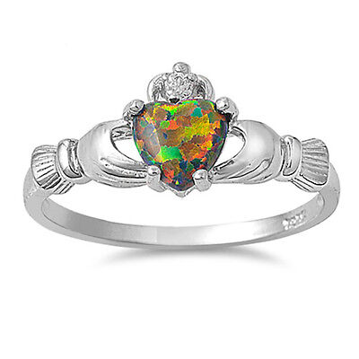 NEW! Green Australian Opal & Russian CZ Claddagh .925 Sterling Silver Ring 4-9