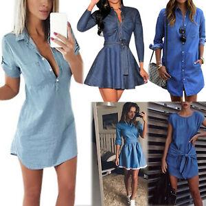 Womens-Denim-Jeans-Short-Mini-Dress-Pocket-Ladies-Casual-Party-T-Shirt-Dresses-L