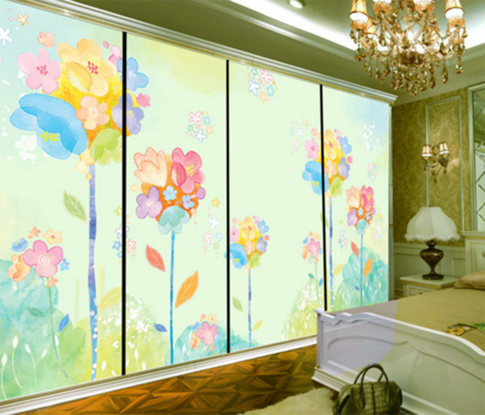 3D 3D 3D Cartoon Painted Flowers 3 Paper Wall Print Wall Decal Wall Deco Indoor Murals 1cc89a