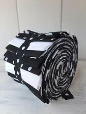 20 Poly Cotton Fabric Strips Jelly Roll Black & White  2.5inch by 44inch