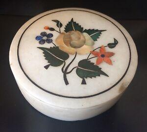 Antique Pietra Dura Alabastar Box With Lid
