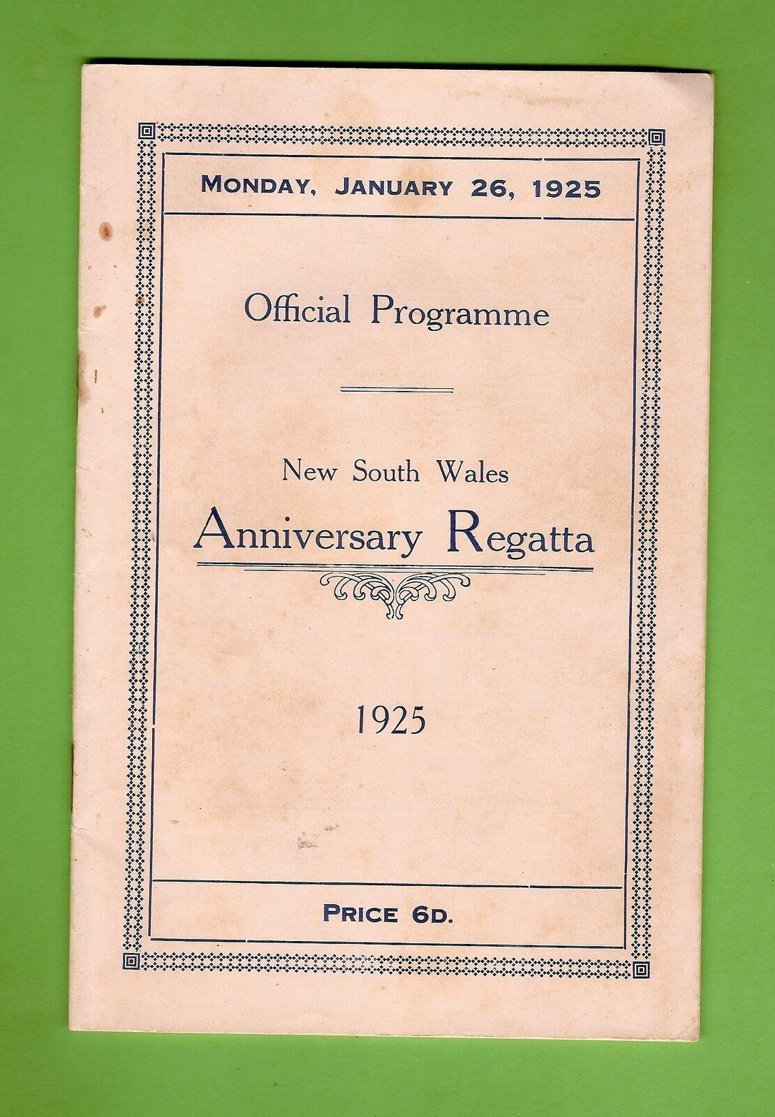 D167.  1925  NSW ANNUAL   REGATTA PROGRAM