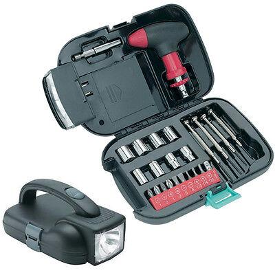 Screwdriver 25pc Tool Set w// Built-In Spotlight Flashlight Kit Ratchet Box