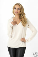 Ladies Sensible Jumper V Neck Sweater Long Sleeve Casual Top Size 8-12 FA357
