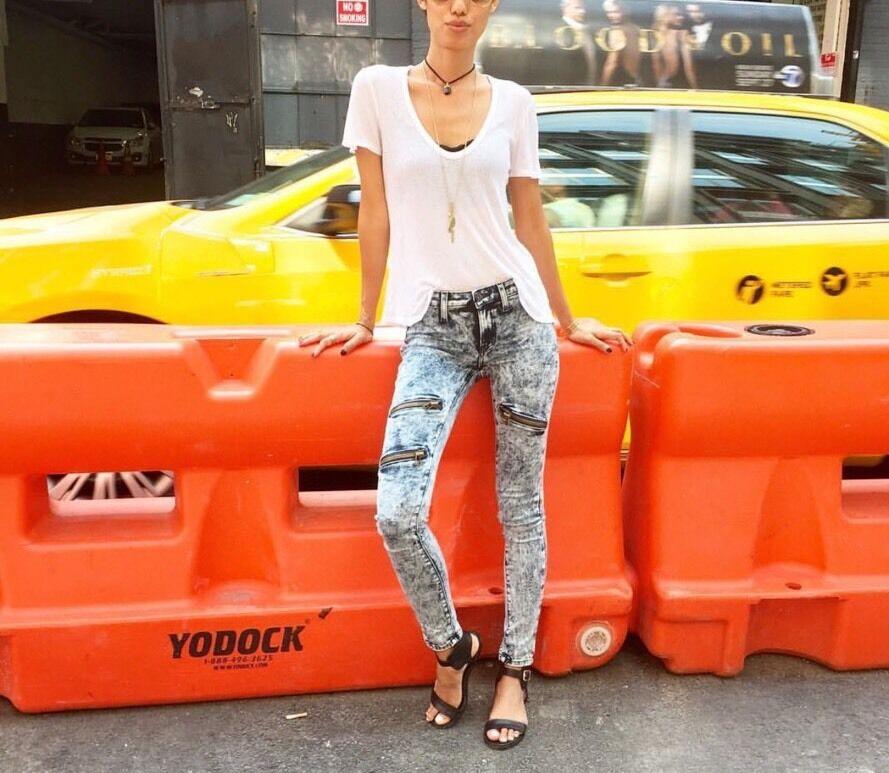 LF carmar bluee acid washed  zipper skinny  denim jeans NWT sz 26  228