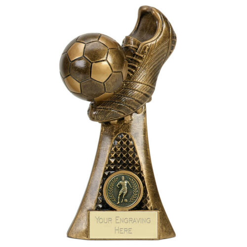 FOOTBALL VICE BOOT AND BALL FOOTBALL TROPHY AWARD 3 SIZES FREE ENGRAVING A4011A