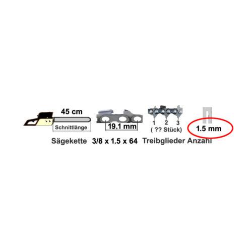 2 cadenas Espada de 45 cm 3//8x1,5 compatible con 346 351 353 385 Husqvarna 390 394