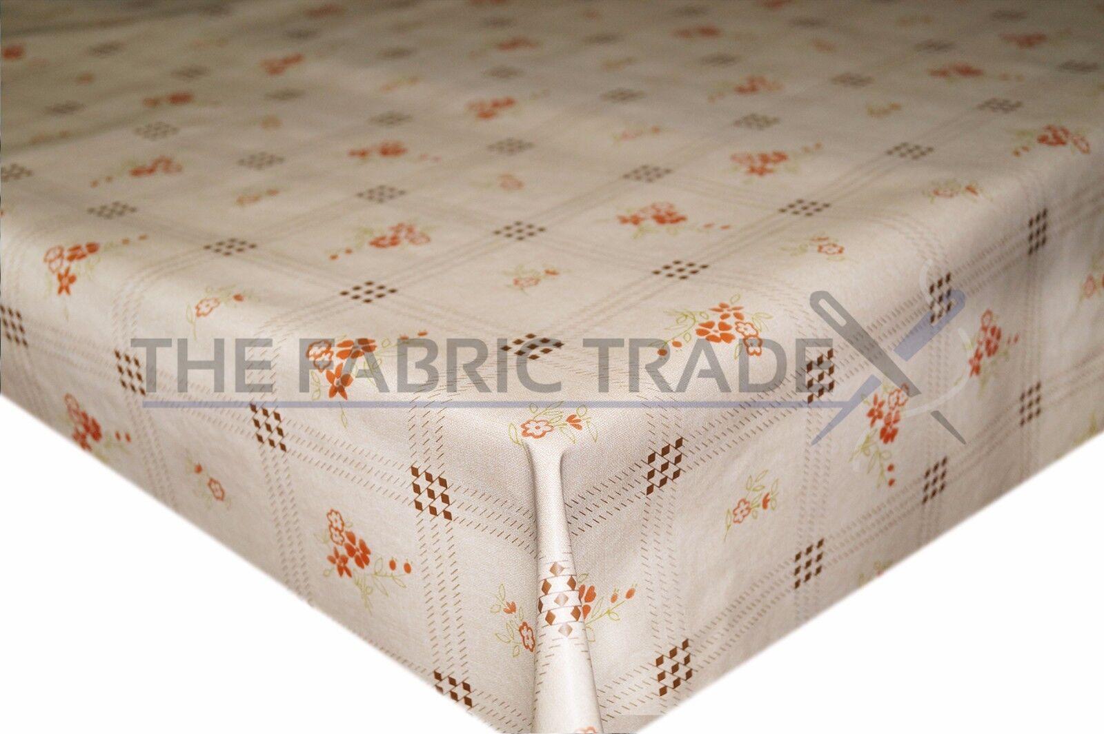 Vintage Floral Beige Tartan PVC Tablecloth Vinyl Oilcloth Kitchen Dining Table