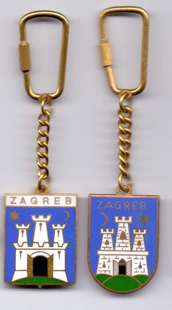 2 enamel keychain keyring ZAGREB city Croatia nice key chains Yugoslavia 78edb28be