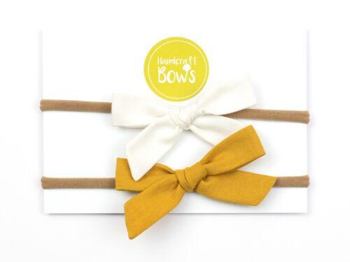Set of 2 Fabric Bows Soft Elastic Newborn Toddler Baby Girl  Headband Gift