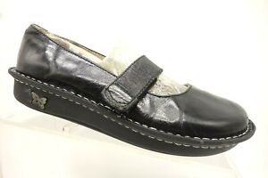 Alegria-Black-Leather-Adjustable-Mary-Jane-Loafers-Shoes-Women-039-s-37-7-7-5