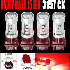 4x 3157CK Socket 2835 Chip Red Brake/Backup/Tail/Turn Signal LED Light Bulbs