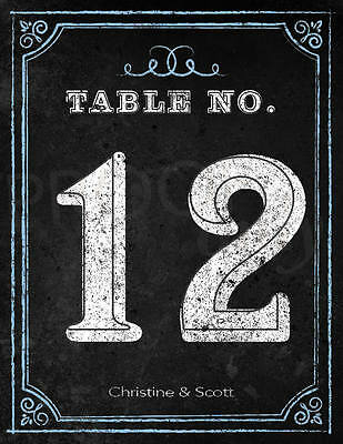 Personalized Chalkboard Print Design Wedding Table Numbers