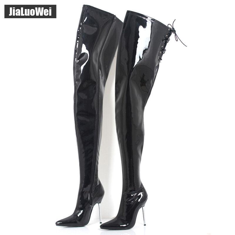 Para mujeres mujeres mujeres 12cm Tacón Alto Sexy Stiletto Puntera Puntiaguda brillante alto del muslo botas Sz 5-15  al precio mas bajo