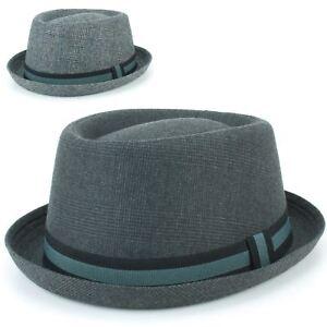 Porkpie Hat Pork Pie Trilby Hawkins Tweed Fedora Stingy Brim Jazz ... 6ea48c81935