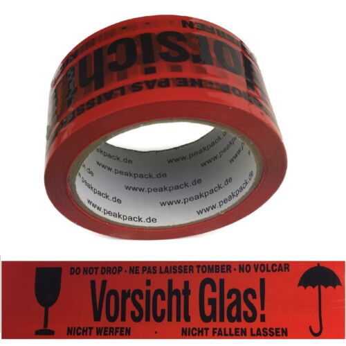 36x Caution Glass 66m Long 48mm Wide Tape Pack Band Strength 40 risk of breakage