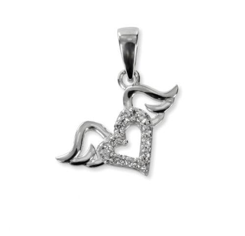 Anhänger Herz mit Flügeln 925 Silber 12 Zirkonia  Herzkette Herzanhänger