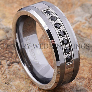 Image is loading Tungsten-Ring-Black-Diamonds-Mens-Wedding-Band-Brushed-