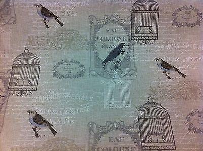 +NEW FRYETT`S ~Vichy~ Birds,Linen Look Thick Cotton Fabric ---  2 MTS FOR JO----