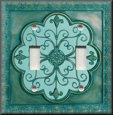 Metal Light Switch Plate Cover - Faux Finish Fleur De Lis Design Teal Home Decor