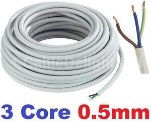 3 Core 0.5mm 3 Amp PVC Flexible Cable 1m 5 100m Round Flex ...